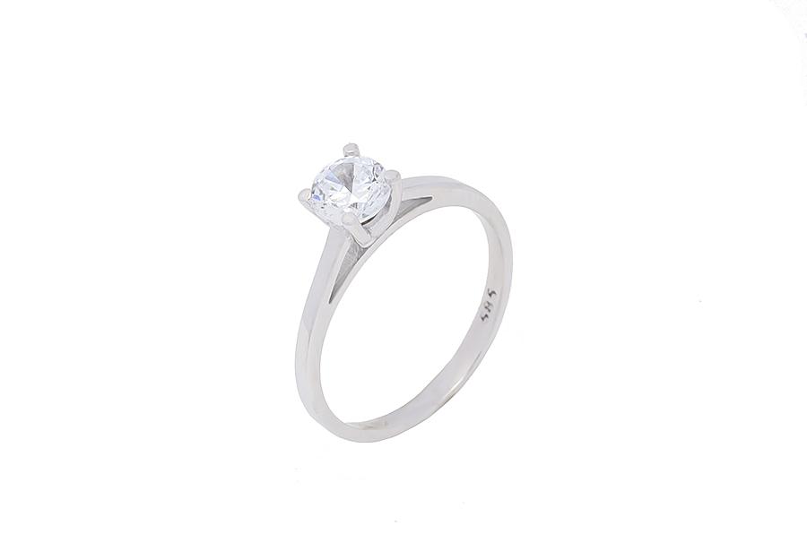 Μονόπετρο Δαχτυλίδι Λευκόχρυσο K14 καράτια KA103