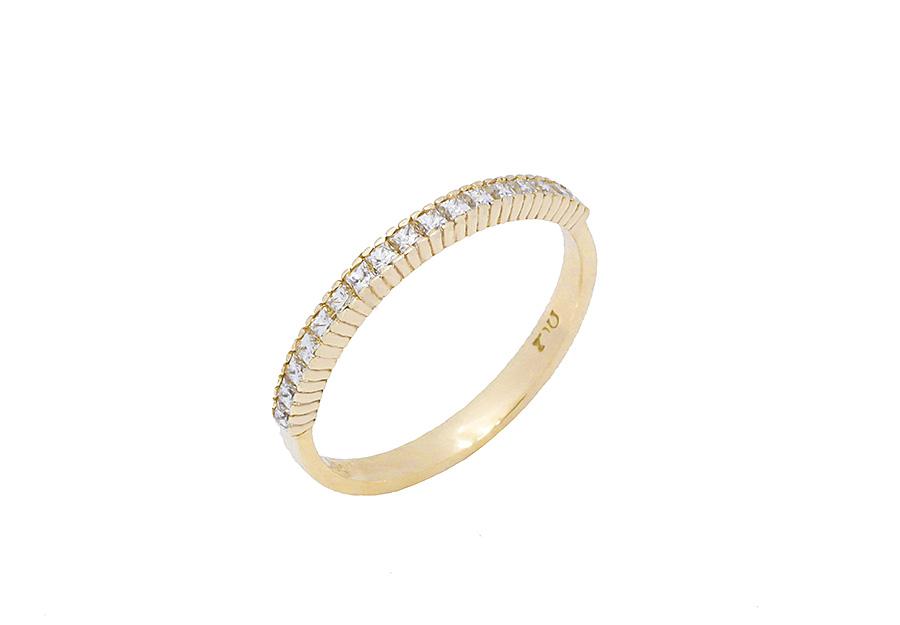 Xρυσό Μισόβερο δαχτυλίδι K14 KA501G