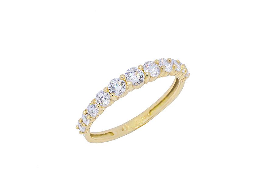 Xρυσό Μισόβερο δαχτυλίδι K14 KA507G