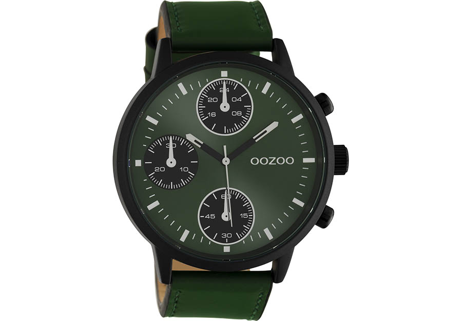 OOZOO Timepieces Green Leather Strap C10667