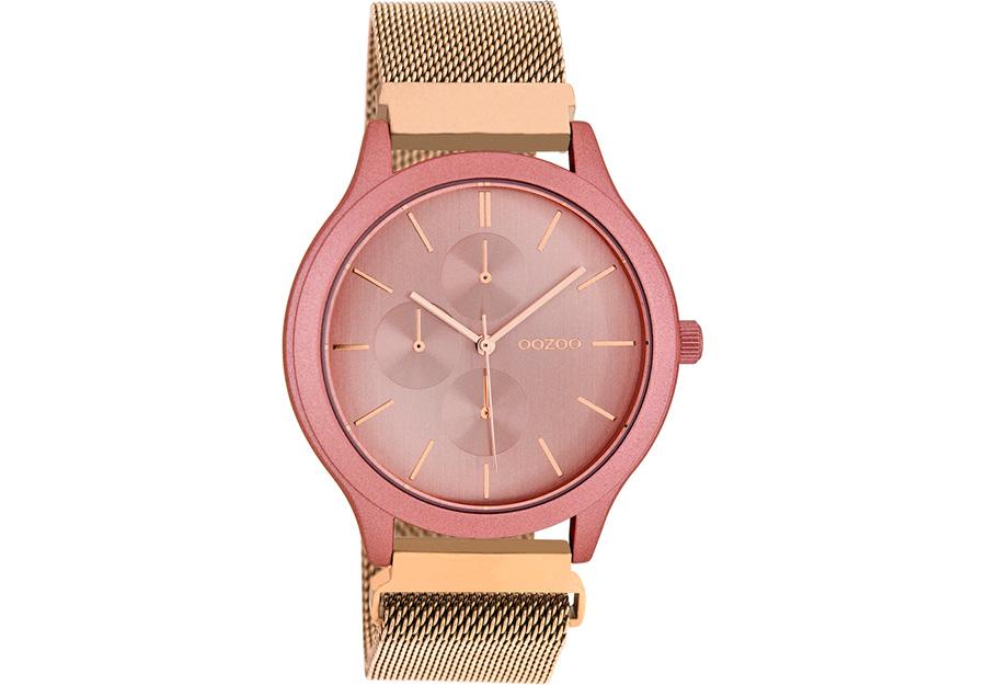 OOZOO Timepieces Rose Gold Metallic Mesh Bracelet C10687
