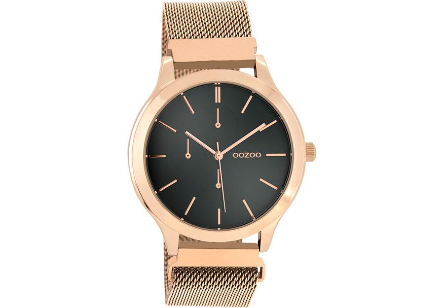 OOZOO Timepieces Rose Gold Metallic Mesh Bracelet C10688