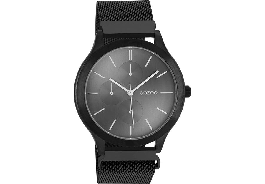 OOZOO Timepieces Black Metallic Mesh Bracelet C10690