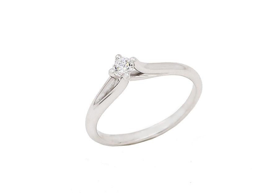 Μονόπετρο Δαχτυλίδι Λευκόχρυσο K14 καράτια KA221
